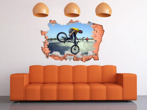 FULL COLOUR BMX Smashed wall Wall Art 3D Sticker Broken Wall,Transfer Decal