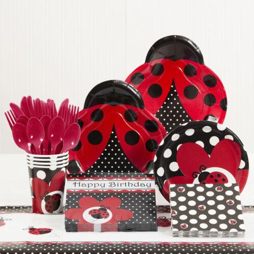 Creative Converting 81 Piece Ladybug Fancy Birthday Paper//Plastic Tableware Set