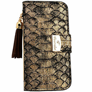 on sale 6c684 0397e Details about Snake Skin GOLD PU Leather Flip Wallet Purse Case Card Holder  iPhone 6 6S Plus