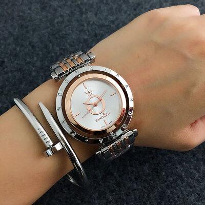 Luxury Women's Men's Stainless steel Quartz Wristwatch Simple Watch Pandor