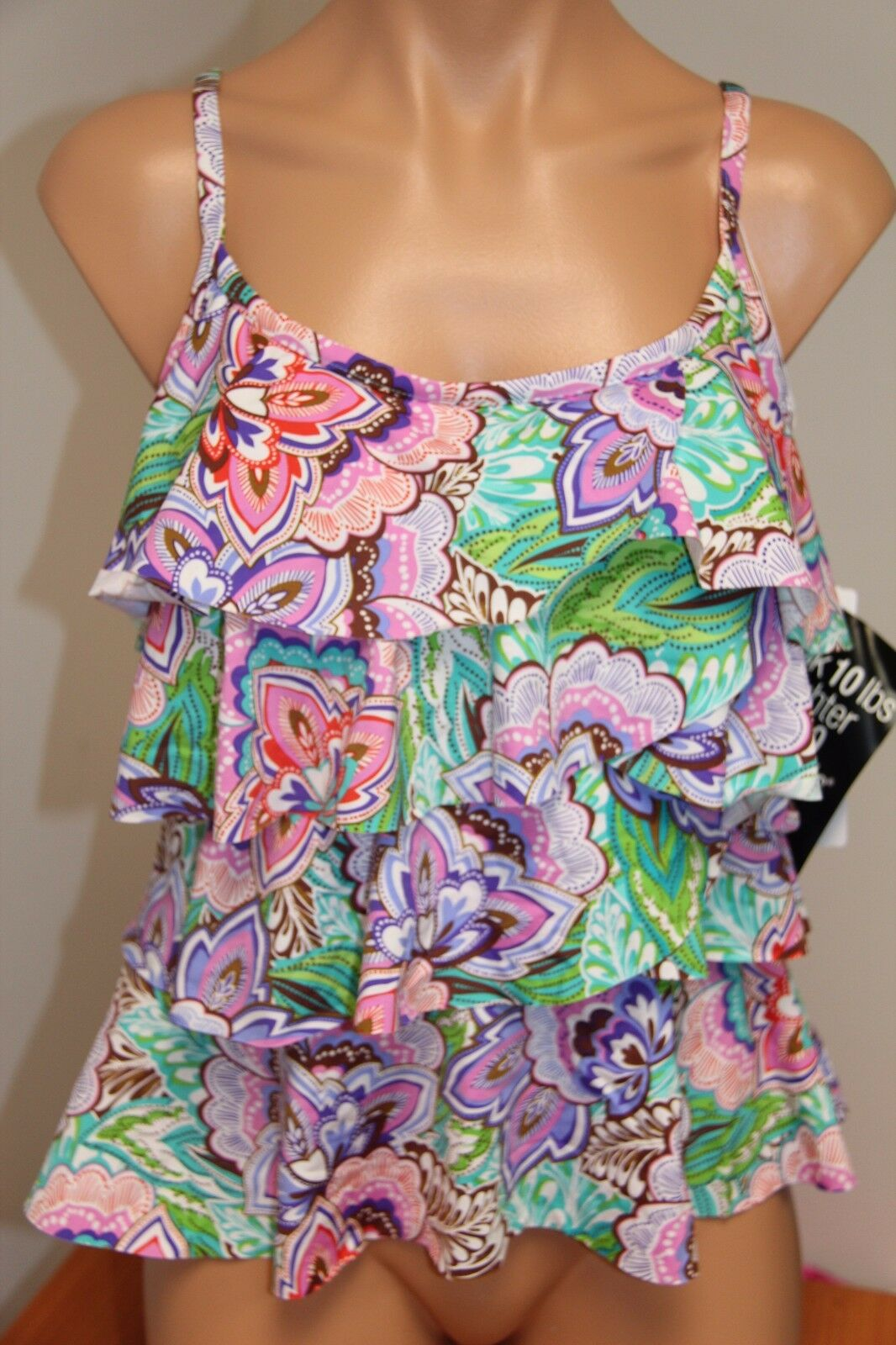 NWT  Miraclesuit Swimsuit Bikini Tankini Top sz 8 Pink Tiering UP Ruffles