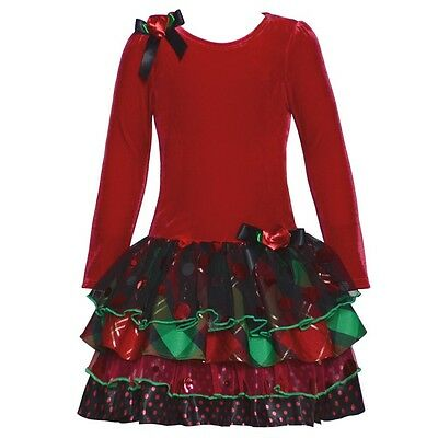 Bonnie Jean Christmas Holiday Special Occasion Red Velvet Dress w// Tiered Skirt