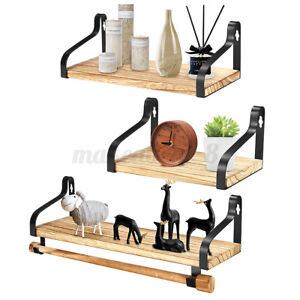 floating shelf + wooden stick wall mounted rustic wood