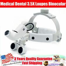 Medical Dental 35x Loupes Headband Binocular Magnifier With 5w Led Headlight Us