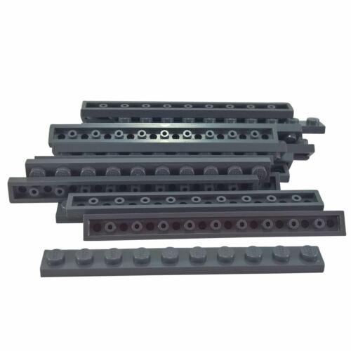 20 NEW LEGO Plate 1 x 10 Dark Bluish Gray