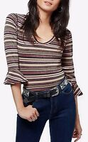Free People 'surprise Party' Striped Top With 3/4 Length Sleeve In Purple