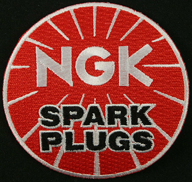 NGK Spark plug Embroidered Iron on Patch, Badge, Motorbikes, scooters,