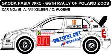 DECALS 1/43 SKODA FABIA WRC  #3 - MIKKELSEN - RALLYE POLOGNE 2009 - MFZ D43179
