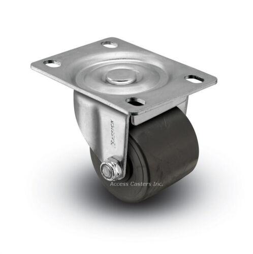 "2SBM120L 2/"" Polyolefin Wheel Low Profile Swivel Plate Caster 300 lbs Capacity"