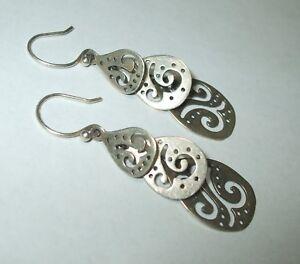 Silpada-925-Sterling-Silver-W2299-Cutout-Swirl-Triple-Drop-Hook-Dangle-Earrings
