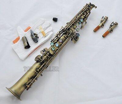 Antique Straight Soprano Saxophone Bb Sax Ablone Shell High F#, G 2 Necks NEW