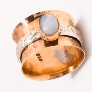 Rainbow-Moonstone-925-Sterling-Silver-Meditation-Statement-Ring-Spinner-Ring-s12