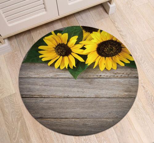 Bloom Tournesol Bois Board rond Chambre À Coucher Tapis antidérapant Home Decor zen yoga mat
