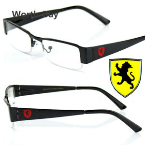 New-Khan-Clear-Lens-Glasses-Rectangular-Frame-Mens-Womens-Nerd-RX-Black-Red-Lion