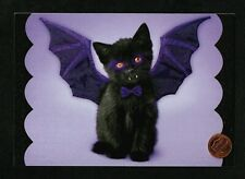 SUSAN WINGET Truck Black Cat Ghost Pumpkins Halloween Greeting Card W// TRACKING