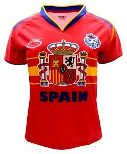 22629e411 Spain Women Arza Soccer Jersey 100% Polyester. color Red and White ...