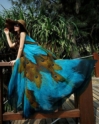 01 Long Maxi Casual Summer Beach Boho Evening Party Cocktail Plus Size Dress