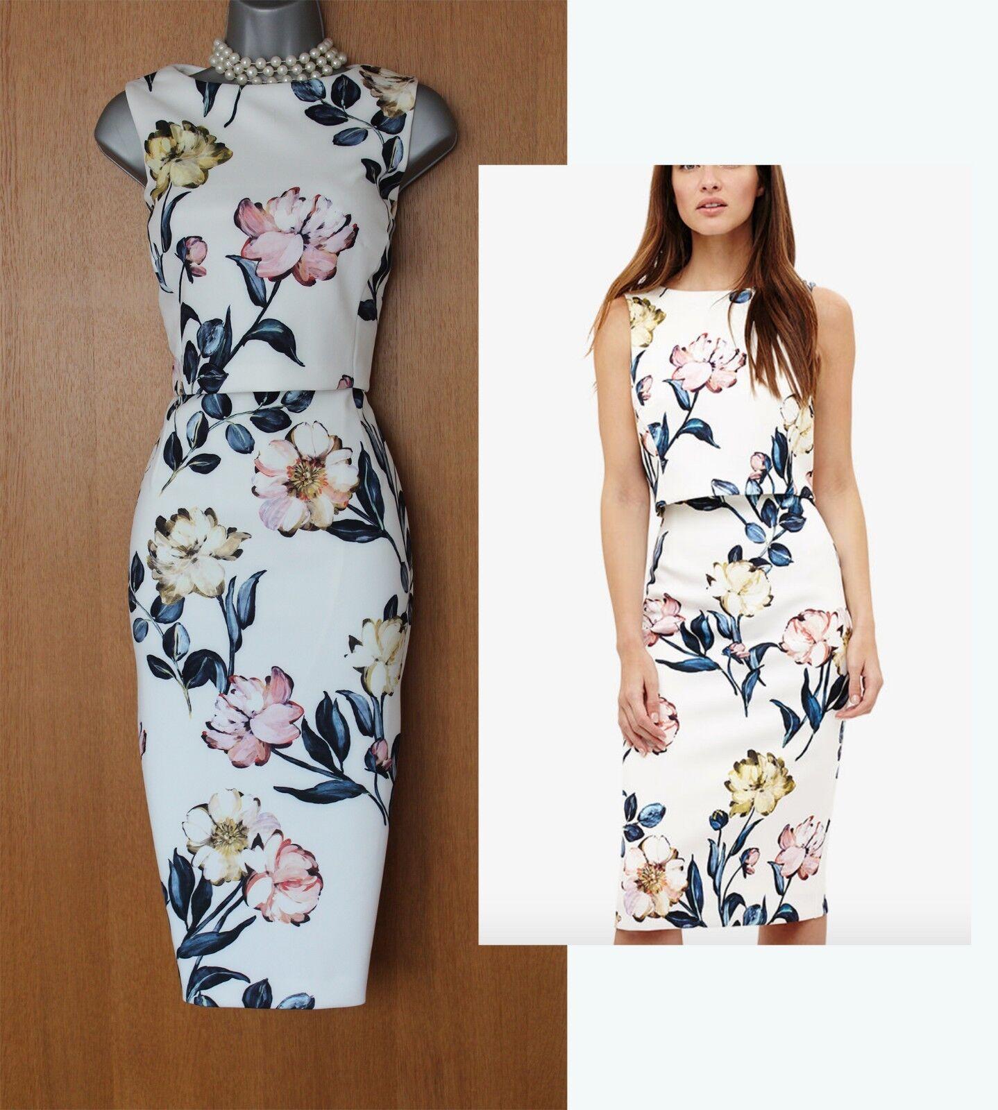 Phase Eight Ivory Peony Printed Layered Bodice Occasion Dress UK12 rrp