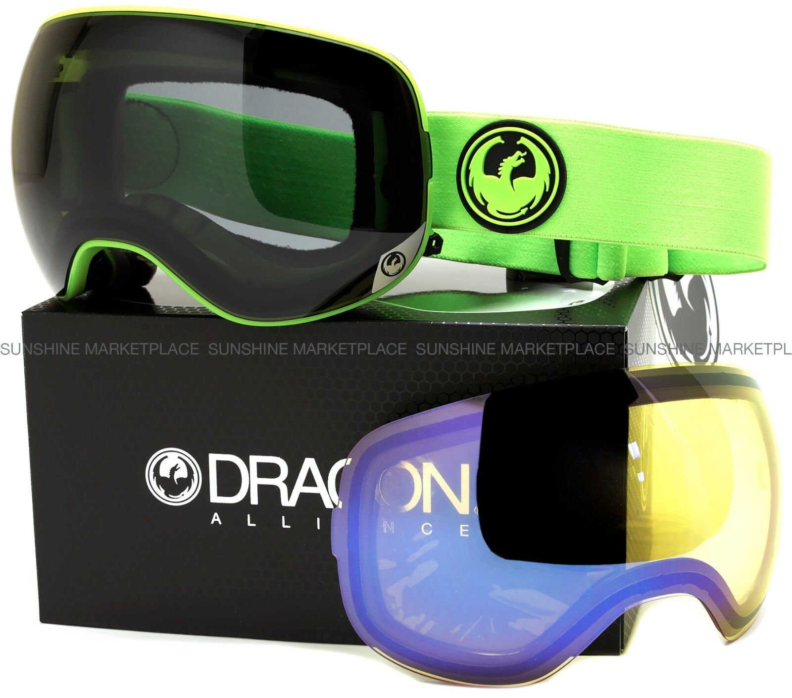NEW 2015 Dragon X2 Goggles-Green-Dark Smoke+Yellow bluee-SAME DAY SHIPPING