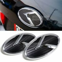 3D K Logo Front Grille Rear Trunk Carbon Black Emblem Badge For KIA 02-06 Rondo