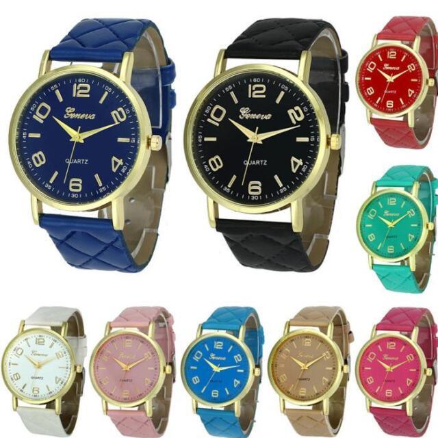 New Fashion Womens Ladies Watches Faux Leather Analog Quartz Wrist Watch