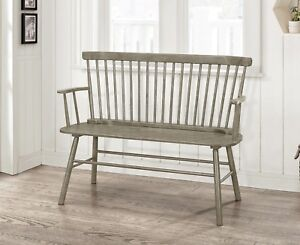 Entryway Bench Wood Rustic Grey Finish Spindleback Loveseat Farmhouse Home Decor Ebay