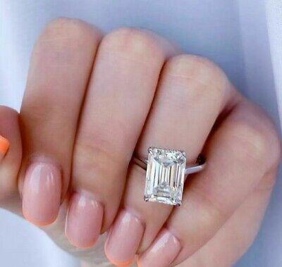 5 Carat Emerald Cut Solitaire Diamond Hidden Halo Engagement Ring 14k White Gold Ebay