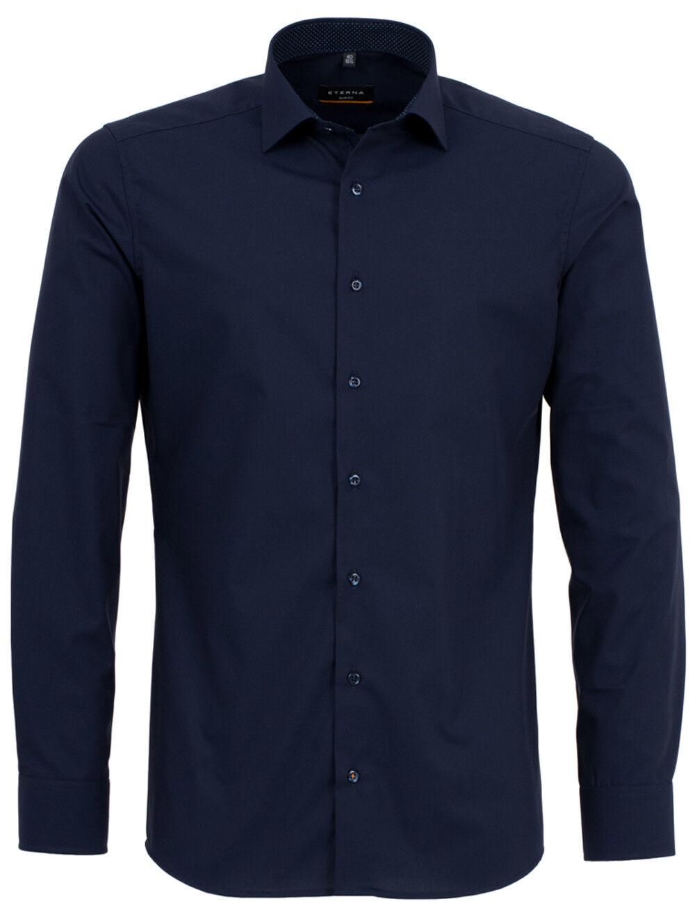 Eterna Calzini Business Camicia Manica MARINE Lunga Slim Fit Blu ... b95945c031e