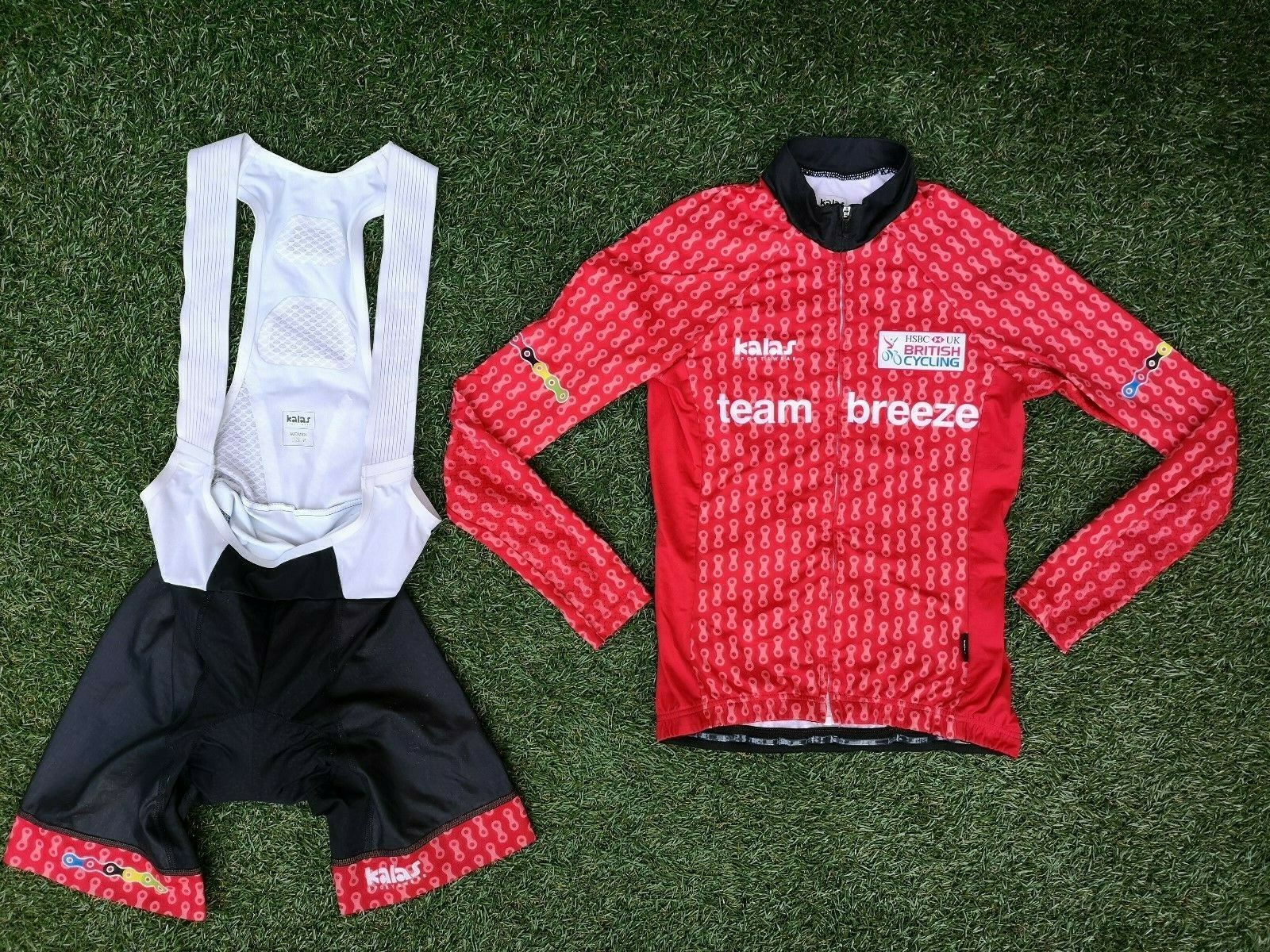 British Cycling Team Breeze Kalas Fleece LS Race Jersey & Bib Shorts Set  Small
