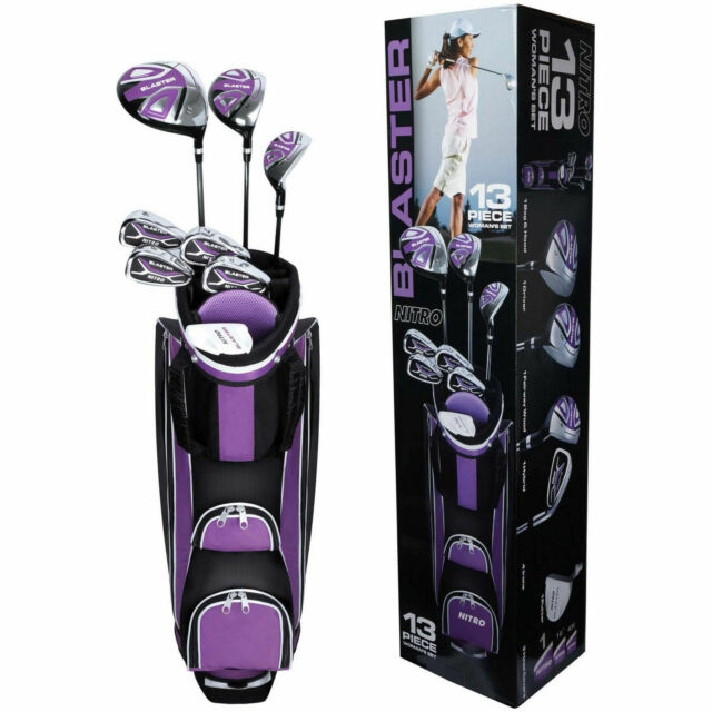 Used Ladies Golf Clubs >> Ladies 13 Piece Golf Club Set Purple Iron Lightweight Cart Bag Flex Complete New