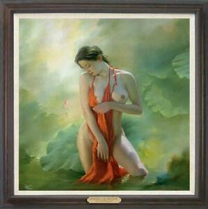 """Hand painted Original Oil Painting art Portrait nude girl on Canvas 30""""x30"""""""