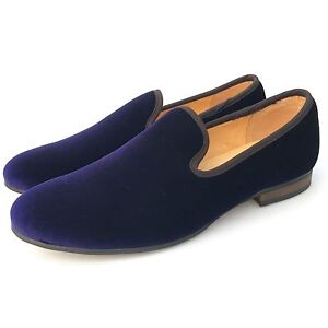 cac3431f549 Details about Handmade Men Purple Velvet Loafers Plain Smoking Slippers  Flats Dress Shoes