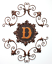 miniature 4 - Scrolled Wall Hanging Letter D Themed Antiqued Metal Bronze Gold Finish 3 Parts