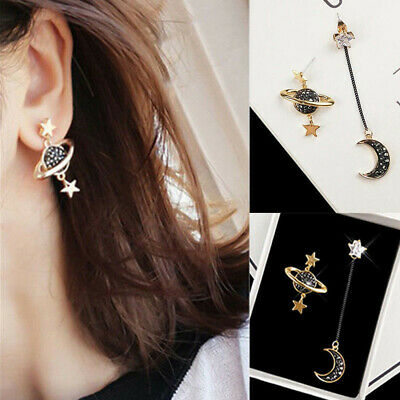 1 Pair Star Moon Long Drop Dangle Earrings Women Planet Ear Stud