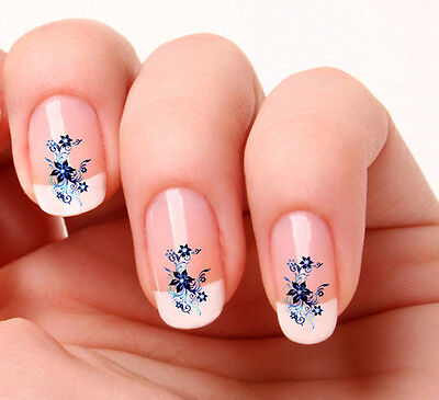 20 Nail Art Decals Transfers Stickers #01 - Blue Flowers
