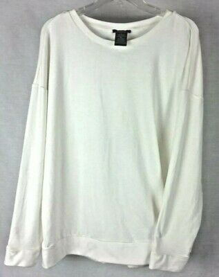 NWT Womens PREMISE Ivory Tower Long Sleeve Pullover Back Zip Shirt Top 2XL XXL