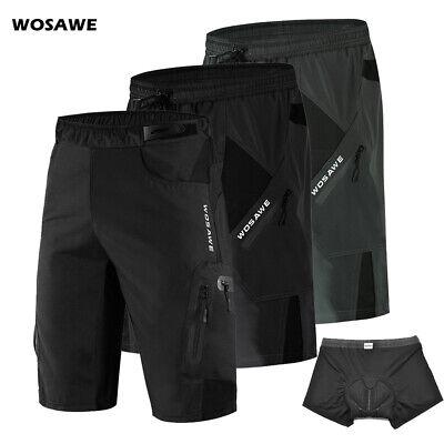 MTB Baggy Shorts Padded Mens Cycling Casual Short Pants Elastic Waist Pockets