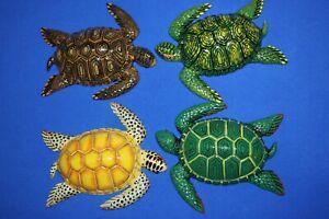 "6/"" each 4 Realistic Sea Turtles Replicas 3-D Moisture Resistant Poly Resin"