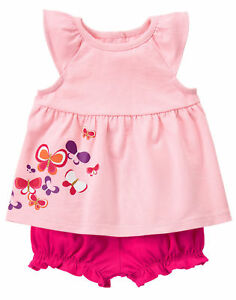 1e2c9d6d6 NWT Gymboree Sunset glow Butterfly Top Romper Set Outfit 2PC Baby ...