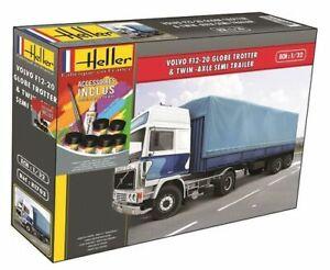 Maquette-camion-Volvo-avec-remorque-F12-avec-colle-peintures-Heller-echelle-1-32