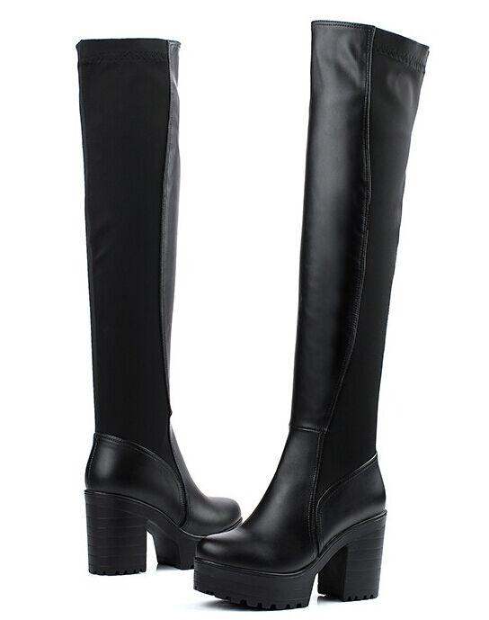 stiefel schenkel winter komfortabel frau absatz 12,5 cm schwarz simil leder 8802