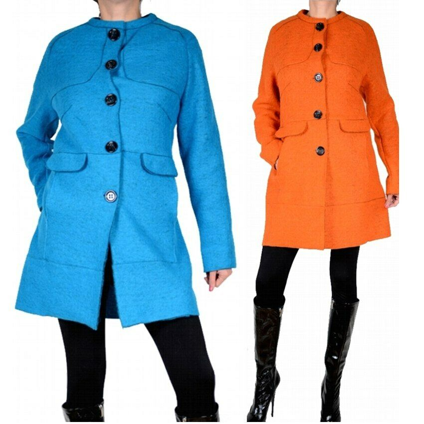 Elegant Paris Wool Coat Trench Coat Transition Winter 42 44 46 48 XL XXL orange