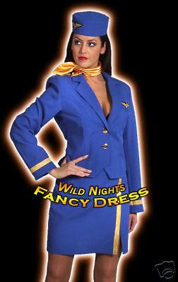DLX AIR STEWARDESS BLUE MED 12-14 FANCY DRESS COSTUME