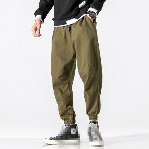 Men/'s Harem Pants Drawstring Casual Plain Outdoor Loose Fit Trousers Slacks B