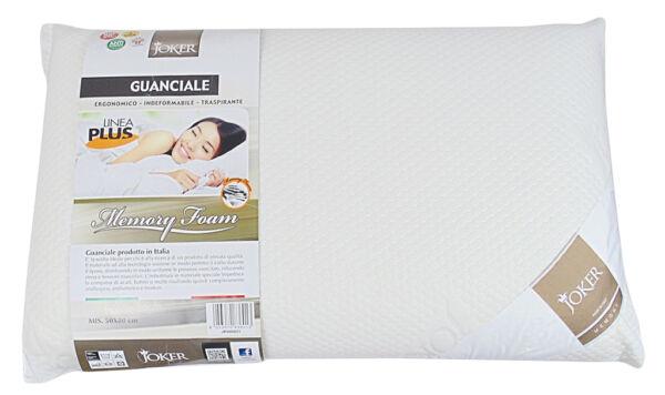 1 Guanciale Cotone Memory Foam Antiallergico 50x80 Bianco Traspirante Linea Plus