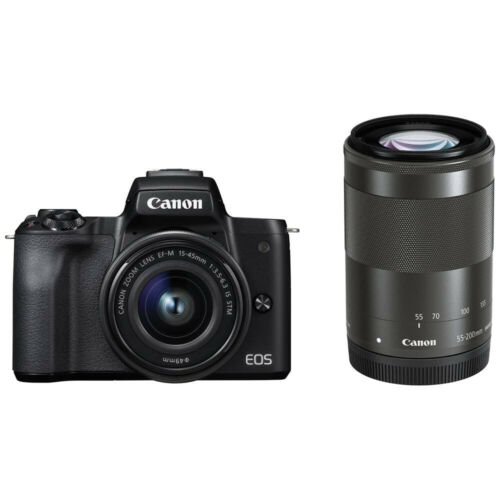 CANON EOS Kiss M Mirrorless Camera Double Lens Kit Black Japan Version New
