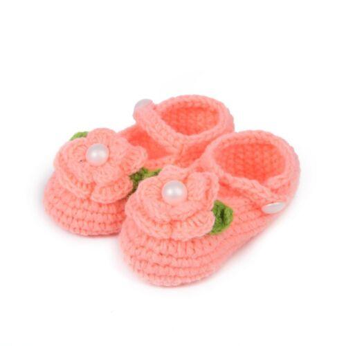Newborn Baby Infant Girls Crochet Socks Crib Shoes Prewalker 0-12 Months Knit