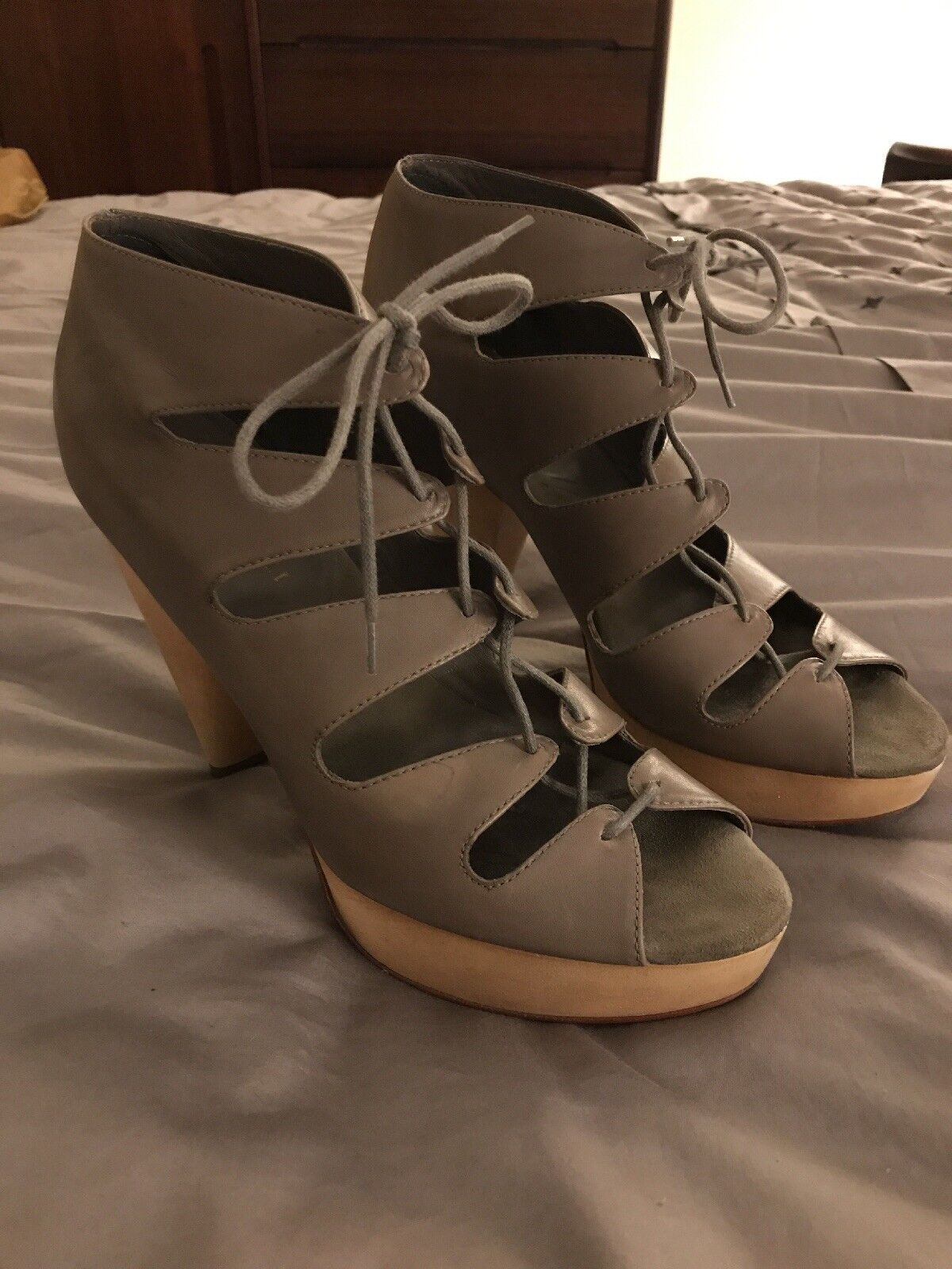 Loefller Randall Taupe Leather Sandals démarrageies Wooden Heels Taille 9 B free ship