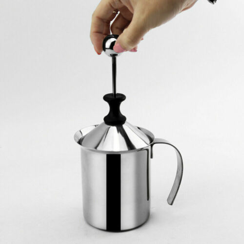 400//800ml Milk Frother Double Coffee Cappuccino Foamer Manual Jug YZH