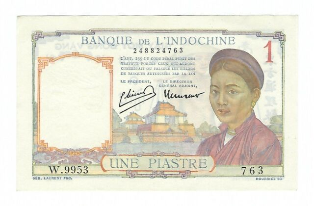 French Indochina - 1 Piastre, 1932-39 !!A-UNC!!